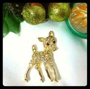 Vintage Reindeer Christmas Brooch Rhinestone AB
